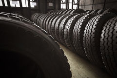 Large tires of a bus garage Royalty Free Stock Image