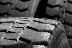 Large Tires. Heavey Equipment Tires with worn tread stock images