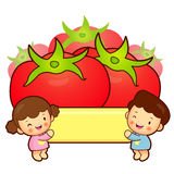 Large Tomato and Brother and Sister Mascot. Home and Family Char Stock Image