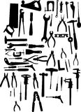 Large tool silhouette set Stock Image