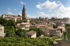 View of Saint Emilion village in Bordeaux region in France. Large top view French village Saint Emilion UNESCO World Heritage site near bordeaux France royalty free stock photography