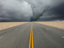 Large tornado. Over the road Royalty Free Stock Photo