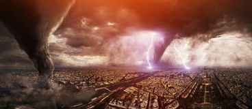 Large Tornado disaster on a city Stock Images