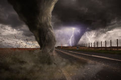 Large Tornado disaster on a road Royalty Free Stock Photo