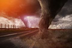 Large Tornado disaster on a road Royalty Free Stock Photography