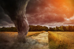 Large Tornado disaster on a road Stock Image