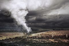 A large tornado forming about to destroy Royalty Free Stock Image