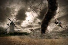 Large tornado over a barn stock illustration