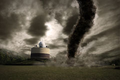 Large tornado over a meteo station vector illustration