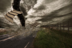 Large tornado over a road Stock Photo