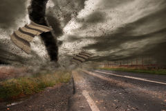 Large tornado over a road Royalty Free Stock Photos