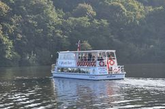 Large tour boat on trip along Norfolk Broads Royalty Free Stock Photos