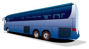 Large tourist's bus. Vectorial image of big tourist's coach isolated on white background. Contains gradients and blends Royalty Free Stock Photography