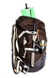 Large touristic backpack with lightweight foam mat and fishing r Stock Photography