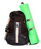 Large touristic backpack with lightweight foam mat  isolated on Royalty Free Stock Images