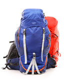 Large touristic backpacks on white Stock Photo