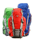 Large touristic backpacks on white Royalty Free Stock Images