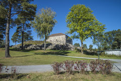 Large tower, to the south. Large tower is a fort located outside Fredriksten fortress in Halden, Norway, and was built in 1682 and was completed in 1884. The Stock Photo