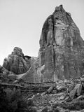 Large towering rock formation in Utah - Black and White Stock Photo