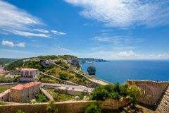 Large town overlooking the long coastline. royalty free stock photo