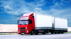 Large tractor trailer truck. A large tractor trailer truck on a major highway stock photos