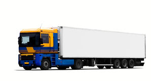 Large tractor trailer truck stock images
