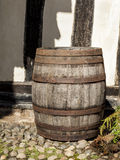 Large traditional oak barrel standing alone. Stock Images