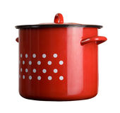 Large traditional red cooking pot Royalty Free Stock Photo