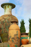 Large traditional vases in the garden Stock Photo
