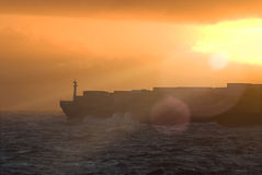 Large transatlantic container tanker Royalty Free Stock Photography
