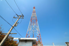 Large transmission tower. With sky royalty free stock image
