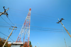 Large transmission tower. With sky stock image