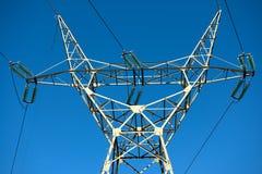 Large transmission towers at sunset Stock Photo