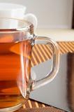 Large transparent glass mug with tea close up Stock Image