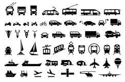 Large transport icons set. flat symbols vector Royalty Free Stock Photo