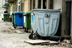 Large trash bin on the street Stock Images