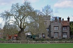Close up of a Stately home in its magnificent gardens royalty free stock photography