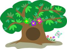 Large Tree with Leaves, Flowers, and Butterfly Royalty Free Stock Photo