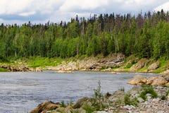 A large tributary of the Yenisei River. Krasnoyarsk region, Russia Stock Photography