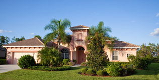 Large tropical house in florida Stock Photos