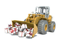 Large truck brought gifts. Isolated white Stock Photography