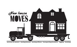 Large truck carrying a country house, service for moving a house, fast delivery. Vector illustration of a large truck carrying a country house, service for royalty free illustration
