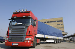 Large truck in commercial area Royalty Free Stock Photo
