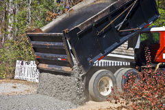 Large Truck Dumping Gravel. A large truck dumping gravel on an area to be paved royalty free stock image