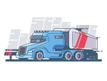 Large truck with long trailer. For cargo transportation. Vector illustration Stock Images