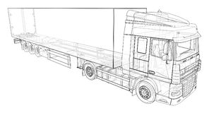 Large truck with a semitrailer. Template for placing graphics. 3d rendering. Large truck with a semitrailer. Template for placing graphics. 3d rendering Royalty Free Stock Image