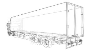 Large truck with a semitrailer. Template for placing graphics. 3d rendering. Large truck with a semitrailer. Template for placing graphics. 3d rendering Royalty Free Stock Photo