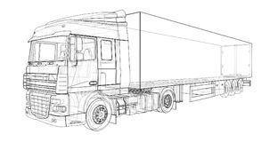 Large truck with a semitrailer. Template for placing graphics. 3d rendering. Large truck with a semitrailer. Template for placing graphics. 3d rendering Royalty Free Stock Photography