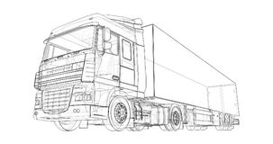 Large truck with a semitrailer. Template for placing graphics. 3d rendering. Large truck with a semitrailer. Template for placing graphics. 3d rendering Stock Photo