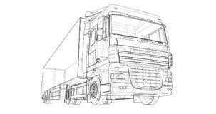 Large truck with a semitrailer. Template for placing graphics. 3d rendering. Large truck with a semitrailer. Template for placing graphics. 3d rendering Stock Photos